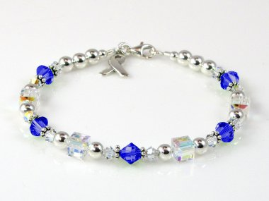 Colorectal/Colon Cancer Awareness Bracelet - Blue Swarovski Crystal & Sterling Silver (Everyday)