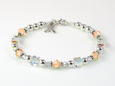 Uterine Cancer Awareness Bracelet - Swarovski Crystal & Sterling Silver (Everyday)