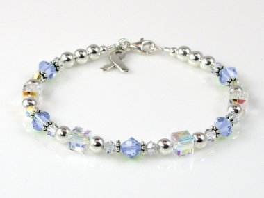 Esophageal Cancer Awareness Bracelet - Swarovski Crystal & Sterling Silver (Everyday)