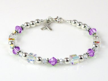 Thyroid Cancer Awareness Bracelet - Swarovski Crystal & Sterling Silver (Everyday)