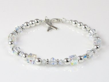 Juvenile (Type 1) Diabetes Awareness Bracelet - Swarovski Crystal & Sterling Silver (Everyday)