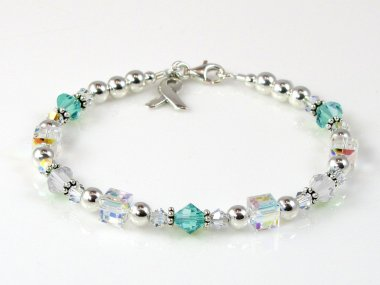 Cervical Cancer Awareness Bracelet - Swarovski Crystal & Sterling Silver (Everyday)