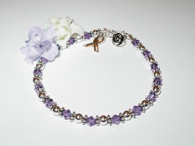 Cystic Fibrosis Awareness Bracelet - Purple Swarovski Crystal & Sterling Silver (Original)