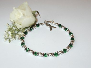 Leukemia Awareness Bracelet - Green Swarovski Crystal & Sterling Silver (Original)