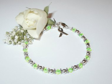 Lymphoma Awareness Bracelet - Lime Green Swarovski Crystal & Sterling Silver (Original)