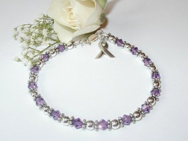 Alzheimers Awareness Bracelet - Swarovski Crystal & Sterling Silver (Original)