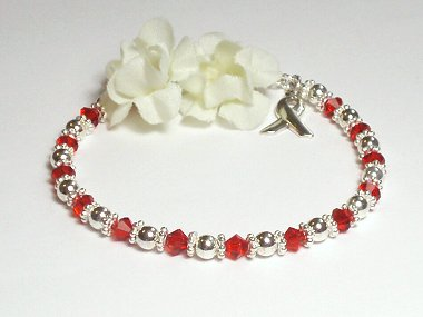 Lymphoma Awareness Bracelet - Red Swarovski Crystal & Sterling Silver (Original)