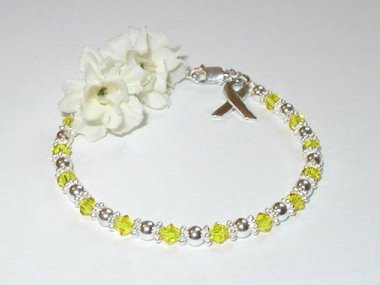 Support Our Troops Awareness Bracelet - Yellow Swarovski Crystal & Sterling Silver (Original)