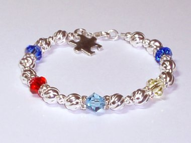 Autism Awareness Bracelet - Swarovski Crystal & Sterling Silver (Twist)