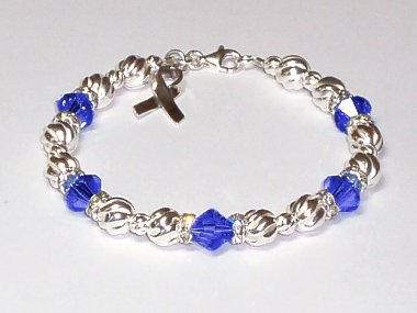 Colorectal Colon Cancer Awareness Bracelet Blue Swarovski Crystal Sterling Silver Twist By Aqua Moon Keepsakes