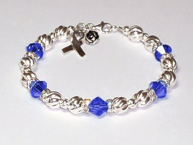 Cystic Fibrosis Awareness Bracelet - Blue Swarovski Crystal & Sterling Silver (Twist)