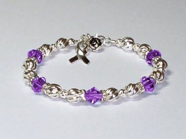 Cystic Fibrosis Awareness Bracelet - Purple Swarovski Crystal & Sterling Silver (Twist)
