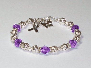 Lupus Awareness Bracelet - Swarovski Crystal & Sterling Silver (Twist)