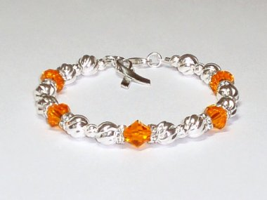 Multiple Sclerosis Awareness Bracelet - Orange Swarovski Crystal & Sterling Silver (Twist)