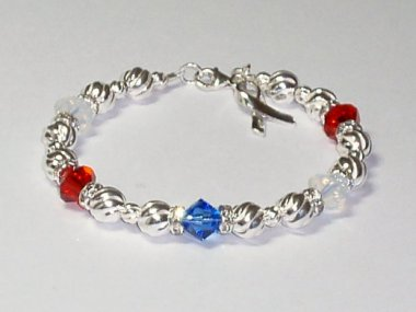 Support Our Troops Awareness Bracelet-Red, White & Blue Swarovski Crystal & Sterling Silver (Twist)