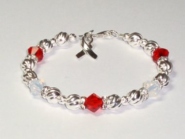 Bone Marrow Failure Awareness Bracelet - Swarovski Crystal & Sterling Silver (Twist)