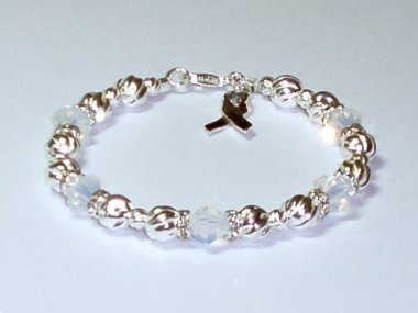 Bone Cancer Awareness Bracelet - Swarovski Crystal & Sterling Silver (Twist)