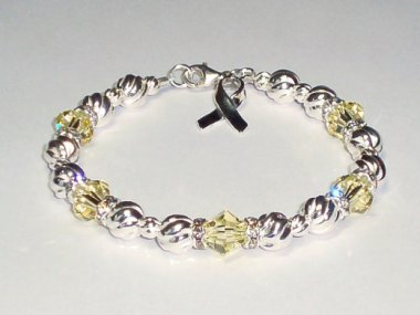 Support Our Troops Awareness Bracelet - Yellow Swarovski Crystal & Sterling Silver (Twist)