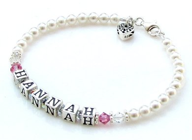 Name Bracelet ~ Swarovski&#174 Crystal and Pearl