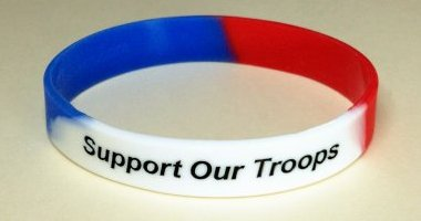 Support Our Troops Awareness Wristband - Red, White & Blue